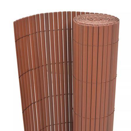 Dwustronne ogrodzenie ogrodowe, PVC, 90x500 cm, brązowe