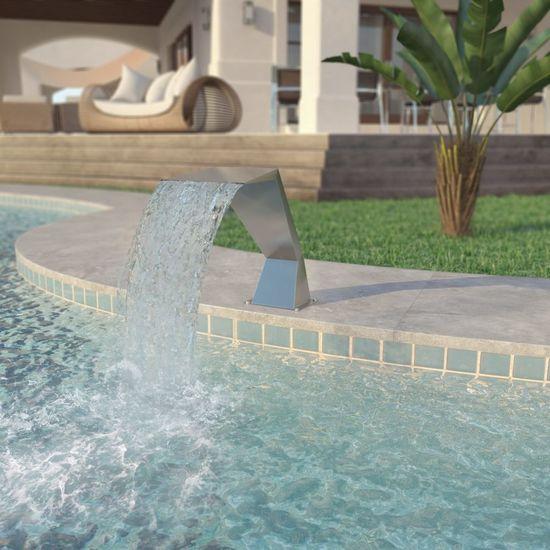 Strieborná bazénová fontána, nehrdzavejúca oceľ, 64x30x52 cm