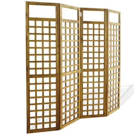 shumee 4-panelni delilnik prostora / mreža iz lesa akacije 160x170 cm