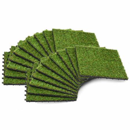 shumee Sztuczna trawa w płytkach, 30x30 cm, 20 szt., zielona
