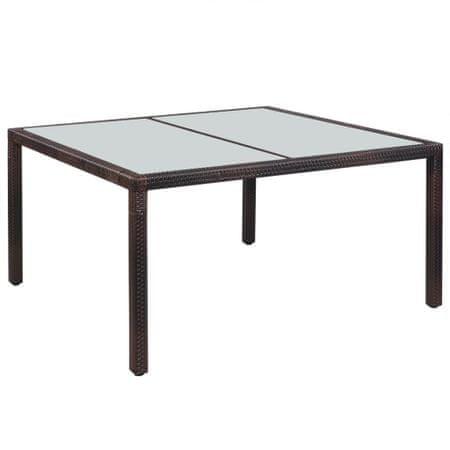 shumee Vrtna miza 150x90x75 cm rjav poli ratan in steklo