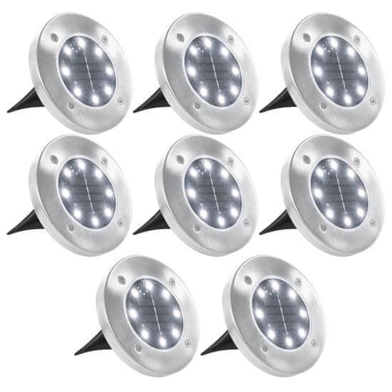 Solárne pozemné svetlá, 8 ks, biele LED svetlo