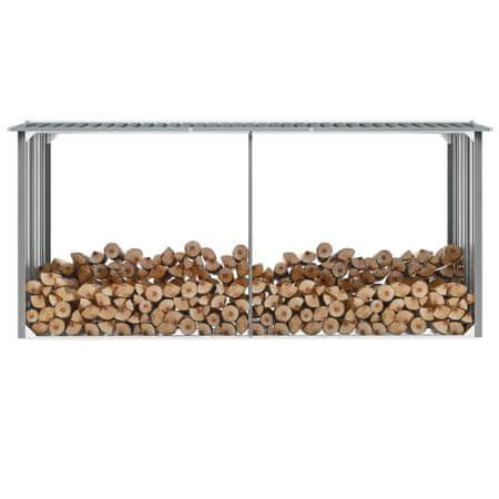 shumee szürke horganyzott acél kerti tűzifatároló 330 x 92 x 153 cm