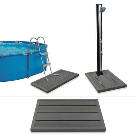 Podlahový prvok pre solárnu sprchu/rebrík v bazéne, drevoplast