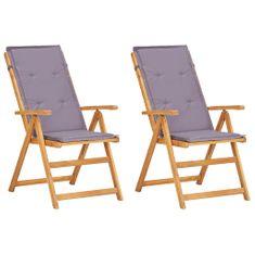 Sklápacie záhradné stoličky 2 ks, hnedé, akáciový masív