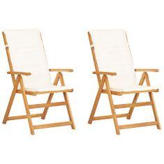 Sklápacie záhradné stoličky 2ks hnedé masívne akáciové drevo