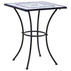Mozaikový bistro stolík, modro biely 60 cm, keramika