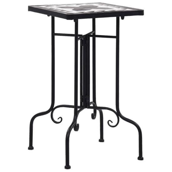 Mozaikový príručný stolík, čierno biely, keramika