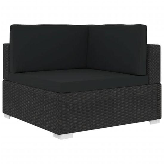 Rohová sedačka 1 ks s podložkami, polyratan, čierna