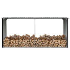 Záhradná kôlňa na drevo antracitová 330x92x153 cm galvanizovaná oceľ