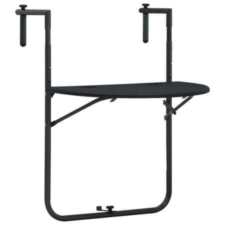 shumee Viseča balkonska mizica črna 60x64x83,5cm plastika videz ratana