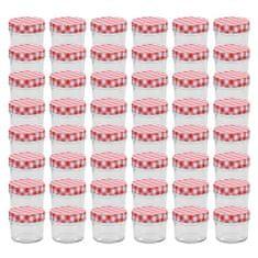 shumee Zavařovací sklenice s bíločervenými víčky 48 ks 110 ml