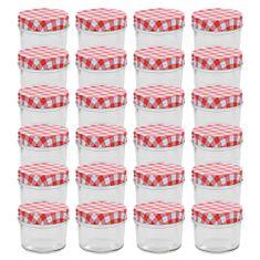 shumee Zavařovací sklenice s bíločervenými víčky 24 ks 110 ml