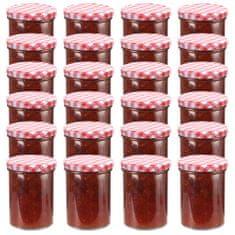 shumee Zavařovací sklenice s bíločervenými víčky 24 ks 400 ml