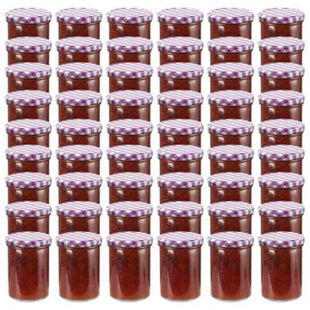 shumee Stekleni kozarci z belimi in vijoličnimi pokrovi 48 kosov 400ml