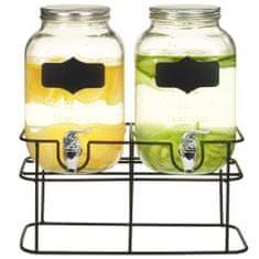Dozowniki do napojów, 2 szt. ze stojakiem, 2 x 4 L, szkło