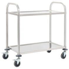 2-poziomowy wózek kelnerski, 87x45x83,5 cm, stal nierdzewna