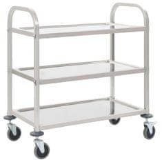 shumee 3patrový kuchyňský vozík 107 x 55 x 90 cm nerezová ocel