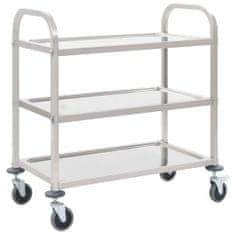 shumee 3patrový kuchyňský vozík 87 x 45 x 83,5 cm nerezová ocel