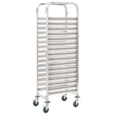 shumee Kuchyňský vozík na 16 podnosů 65,5 x 48,5 x 165 cm nerez ocel
