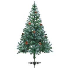 Námrazou pokrytý vánoční stromek se šiškami 150 cm
