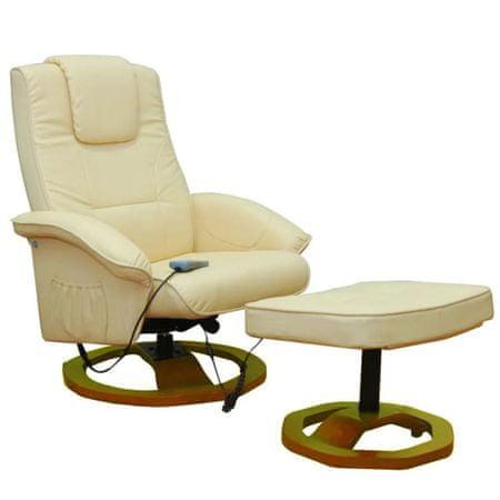 shumee Masažni stol s stolčkom za noge krem umetno usnje