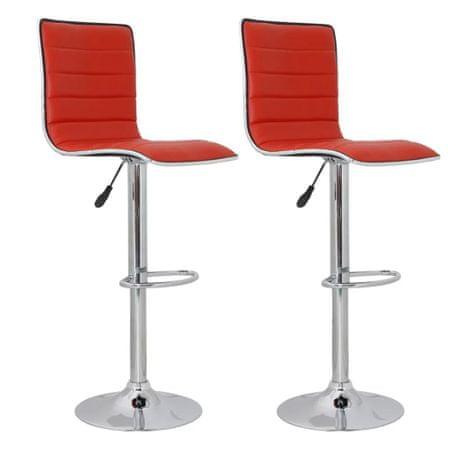 shumee Barski stolčki 2 kosa rdeče umetno usnje