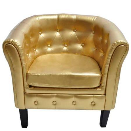 shumee Tubast stol iz zlatega umetnega usnja