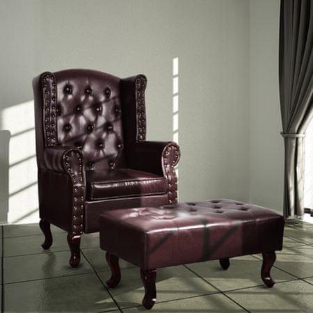 shumee Naslanjač s stolčkom za noge temno rjavo umetno usnje