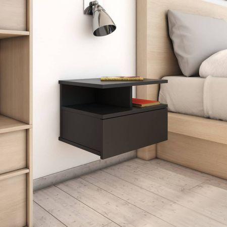 shumee Stenska nočna omarica črna 40x31x27 cm iverna plošča