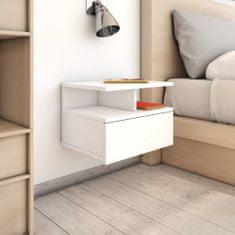 shumee Nástěnný noční stolek bílý 40 x 31 x 27 cm dřevotříska