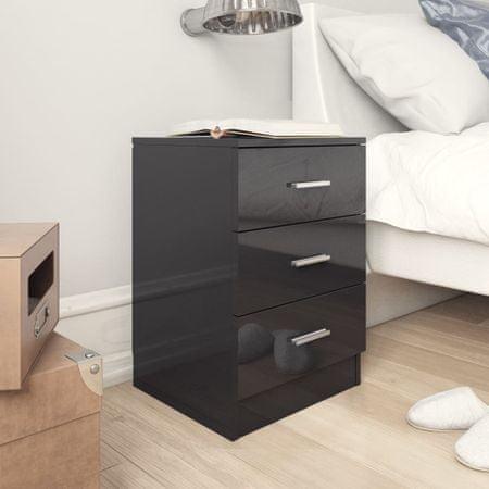 shumee magasfényű fekete forgácslap éjjeliszekrény 38 x 35 x 56 cm