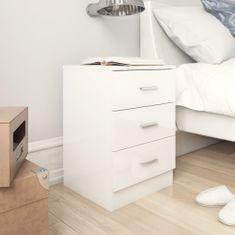 shumee Noční stolky 2 ks bílé vysoký lesk 38 x 35 x 56 cm dřevotříska
