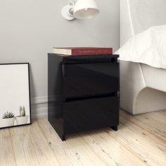 shumee magasfényű fekete forgácslap éjjeliszekrény 30 x 30 x 40 cm