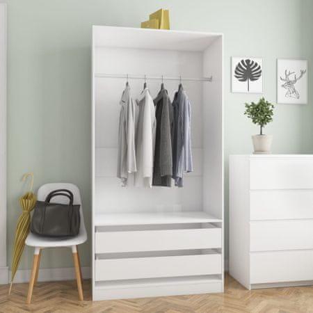 shumee magasfényű fehér forgácslap ruhásszekrény 100 x 50 x 200 cm