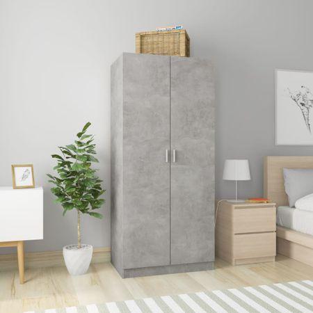 shumee Garderobna omara betonsko siva 80x52x180 cm iverna plošča