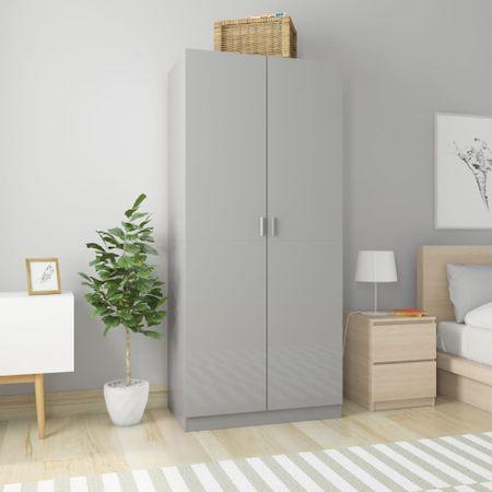 shumee magasfényű szürke forgácslap ruhásszekrény 90 x 52 x 200 cm