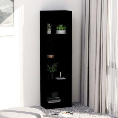 shumee Knjižna omara 4-nadstropna črna 40x24x142 cm iverna plošča