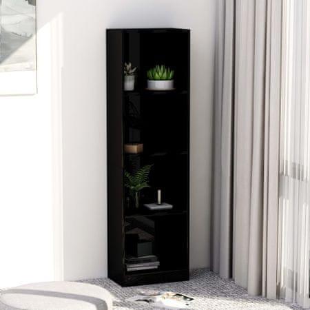 shumee Knjižna omara 4-nadstropna visok sijaj črna 40x24x142 cm