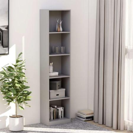 shumee Knjižna omara 5-nadstropna siva 40x24x175 cm iverna plošča