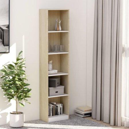 shumee 5-szintes fehér-sonoma forgácslap könyvszekrény 40x24x175 cm
