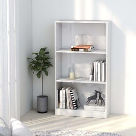 shumee Knjižna omara 3-nadstropna visok sijaj bela 60x24x108 cm