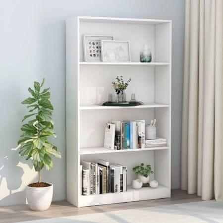 shumee Knjižna omara 4-nadstropna bela 80x24x142 cm iverna plošča