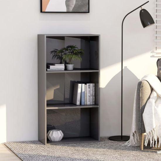 shumee Knihovna 3 police šedá vysoký lesk 60 x 30 x 114 cm dřevotříska