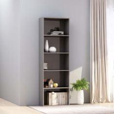 Vidaxl Knihovna 5 polic šedá vysoký lesk 60 x 30 x 189 cm dřevotříska