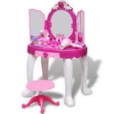 shumee Dětský toaletní stolek na hraní s 3 zrcadly, světly a zvukovými efekty