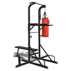 Poręcz do ćwiczeń POWER TOWER z workiem treningowym i ławeczką
