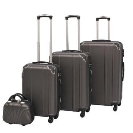 shumee Zestaw walizek na kółkach w kolorze antracytowym, 4 szt.
