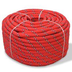 Vidaxl Námořní lodní lano, polypropylen, 12 mm, 50 m, červené