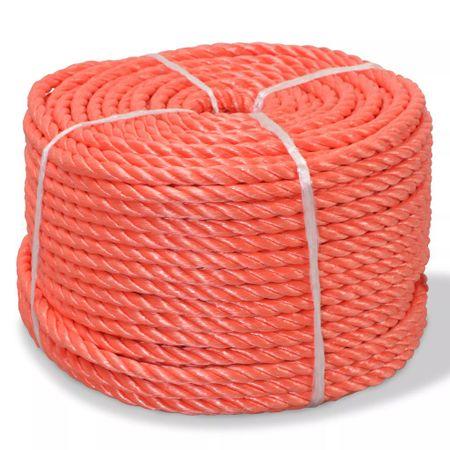 shumee Skręcana linka z polipropylenu, 10 mm, 100 m, pomarańczowa